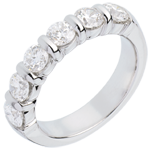 Alliance or blanc 18 carats semi pavée - serti barrettes - 1.5 carats - 6 diamants