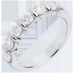 Alliance or blanc 18 carats semi pavée - serti barrettes - 1 carats - 6 diamants