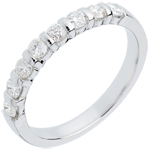 Alliance or blanc 18 carats semi pavée - serti barrettes - 0.5 carats - 8 diamants