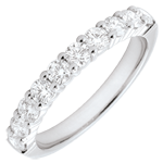 Alliance or blanc 18 carats semi pavée - serti griffes - 0.65 carats - 10 diamants