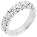 bijouteries Alliance or blanc 18 carats semi pavée - serti griffes - 1.5 carats - 7 diamants