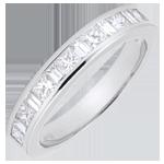 bijoux or Alliance or blanc 18 carats semi pavée - serti rail - 0.7 carat