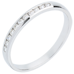 bijou or Alliance or blanc 18 carats semi pavée - serti rail - 11 diamants