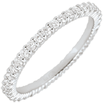 Alliance or blanc 9 carats Radieuse - 38 diamants