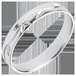acheter en ligne Alliance or blanc Fraicheur - Lierre gravé - or blanc - 18 carats
