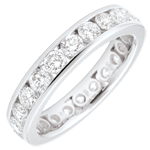 Alliance or blanc pavée - serti rail - 1.9 carats - 23 diamants