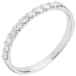 ventes en ligne Alliance or blanc semi pavée - serti barrettes - 10 diamants