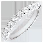 cadeau Alliance or blanc semi pavée - serti griffes - 0.65 carats - 10 diamants