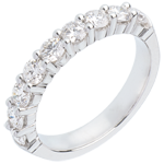 bijou Alliance or blanc semi pavée - serti griffes - 1 carats - 9 diamants