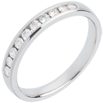 mariage Alliance or blanc semi pavée - serti rail - 0.25 carats - 10 diamants