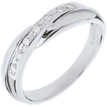 mariages Alliance or blanc - serti rail - 7 diamants