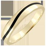 Alliance or Homme Clair Obscur - Courbe - or jaune 18 carats et laque noire