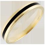 cadeau Alliance or Homme Clair Obscur - Une ligne - or jaune et laque noire - 9 carats