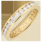 Alliance or jaune 18 carats pavée - serti rail - 1.07 carats - Tour complet