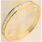 Alliance or jaune 18 carats semi pavée - serti rail - 0.3 carats