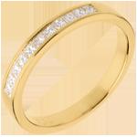 Alliance or jaune 18 carats semi pavée - serti rail - 0.31 carats - 11 diamants