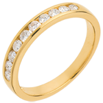 cadeau femme Alliance or jaune semi pavée - serti rail - 0.3 carats - 10 diamants