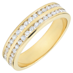 bijou Alliance or jaune semi pavée - serti rail 2 rangs - 0.32 carats - 32 diamants