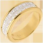joaillerie Alliance or jaune semi pavée - serti rail 2 rangs - 1.5 carats