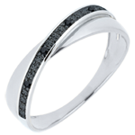 mariages Alliance Saturne Duo - diamants noirs - 9 carats