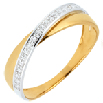Alliance Saturne Duo - diamants - or blanc et or jaune 9 carats