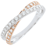 Alliance Saturne Duo double diamant - or blanc et or rose 9 carats