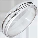 Anello Amore - Fede uomo - Oro bianco - 9 carati - Diamante