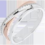 Anello anelli variazione - Oro rosa e Oro bianco - Diamanti - 0.12 carati
