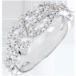 Anello Arabeschi Intrecciati - Oro bianco - 18 carati - 2 Diamanti