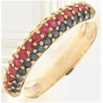 Anello Bandiera tedesca - Oro giallo - 9 carati - 14 Diamanti neri - 15 Rubini - 14 Citrini - 0.77 carati