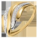 Anello Carezza del Deserto - Oro bianco e Oro giallo - 18 carati - 6 Diamanti