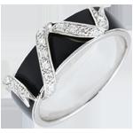 regali donne Anello Chiaroscuro - Nastro di stelle - Oro bianco - 18 carati -Lacca nera -Diamanti