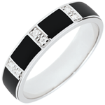 compra Anello Chiaroscuro - Oro bianco - 18 carati -Lacca nera -Diamanti