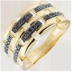 Anello Chiaroscuro -Via Segreta - Oro giallo - 9 carati - Diamanti neri - 0.15 carati - modello grande