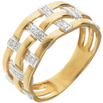 Anello Couture - Oro giallo pavé - 18 carati - 11 Diamanti