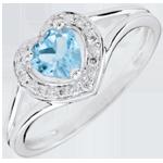 Anello Cuore Incantato - Oro bianco - 9 carati - 10 Diamanti -Topazio blu