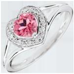 Anello Cuore Incantato - Oro bianco - 9 carati - 10 Diamanti - Topazio rosa