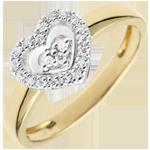 Anello Cuore Parigi - Oro bianco e Oro giallo - 18 carati - 21 Diamanti