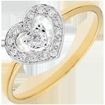 Anello Cuore Tiphanie - Oro bianco e Oro giallo - 9 carati - 15 Diamanti - 0.10 carati
