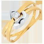 regalo uomo Anello Cuore Volteggio - Oro bianco e Oro giallo - 18 carati - Diamante