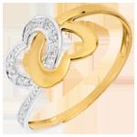 Anello Cuori legati - Oro bianco e Oro giallo - 18 carati - 9 Diamanti