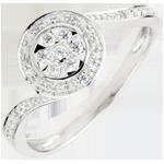 compra Anello La Danza del Cigno - Oro bianco - 9 carati - 15 Diamanti - 0.11 carati