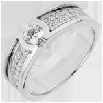 regalo uomo Anello di fidanzamento Costellazione - Oro bianco - 18 carati - Diamante Solitario - 0.27 carati