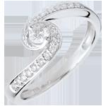 regalo donna Anello di Fidanzamento Destino - Acquario - Oro bianco - 18 carati - Diamanti - 0.28 carati