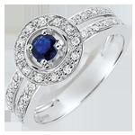 comprare Anello di Fidanzamento Destino - Donna - Zaffiro 0.2 carati e Diamanti - Oro bianco 18 carati