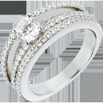 Anello di fidanzamento Destino - Duchessa - Oro bianco - 18 carati - Diamante centrale - 0.5 carati - 67 Diamanti
