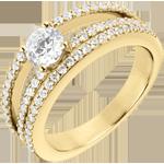 comprare on-line Anello di fidanzamento Destino - Duchessa - oro giallo - diamante centrale 0.5 carati - 67 diamanti