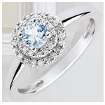 regali Anello di Fidanzamento Doppio Cerchio - Acquamarina 0.23 carati e diamanti - Oro bianco 18 carati