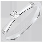 Anello di fidanzamento Giungla Sacra - diamante 0.09 carati - oro bianco 9 carati