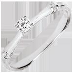 Anello di fidanzamento Giungla Sacra - diamante 0.09 carati - oro bianco spazzolato 18 carati